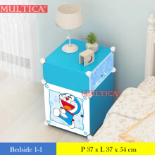 Multica Lemari Kotak Platik Bedside Table Meja Anti Air Doraemon 1-1 Blue