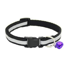 PKG Adjustable Reflective Pet Collar Safety Release Buckle with Bell for Cat Dog (Black)