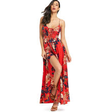 Kubon Open Back Cross over Maxi Dress Red S