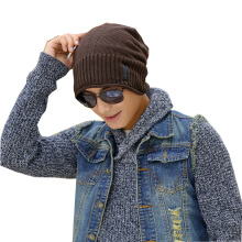 SiYing fashion solid color curling leather standard warm men's knit cap