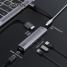 Baseus 6 in 1 HUB Adapter USB Type C to USB 3.0 HDMI RJ45 for MacBook Pro HUB USB Splitter for Huawei Matebook Accessories - Grey