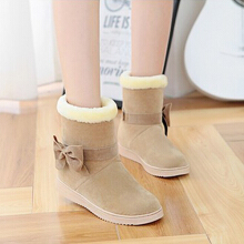 Zanzea 0051Bowknot Faux Fur Lining Slip On Ankle Short Boots For Women Beige