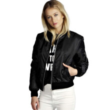 Solid Color Fashion Women Bomber Jacket Basic Coats Short Baseball Jacket S