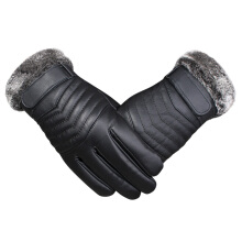 SiYing fashion leather gloves thick warm windproof men riding cotton gloves Black