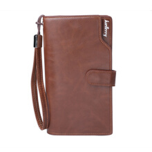 Fashionmall Men Top Quality Leather Purse Fashion Casual Male Clutch Zipper Bag Brand Wallets Men Multifunctional  wallet Deep Brown