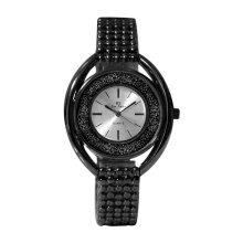 Quartz Movement Watch With Rhinestone Alloy Band Casual Dress Women's Watch Black