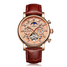 Hollow Mechanical Movement Automatic Adult Men's Watch with Buckle Clasp Rose Gold