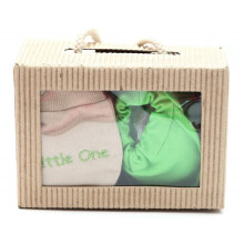Cribcot Gift Set Booties Plain Lime Green & Mitten Little One Milk Choco Olive Green