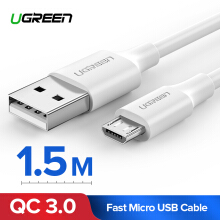 UGREEN 1.5Meter Kabel Data Micro USB for SAMSUNG Galaxy A6, SAMSUNG J7, SAMSUNG Galaxy J4, XIAOMI Mi A2 Lite, XIAOMI Redmi 5A, Handphone Charger Cable White