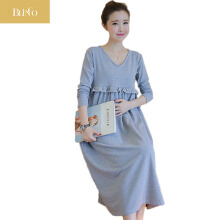 BLINGO High Neck Knitted Cotton Maternity Dress Spring Fashion Long Sleeve Clothes for Pregnant Women Pregnancy Clothing