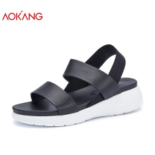 AOKANG 2018 Summer women shoes leather genuine sandals fashion Roman platform sandals woman black