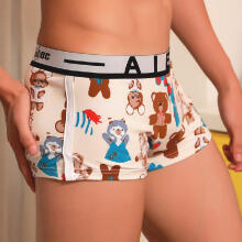 mokoado Mens  Underwear Shorts Underpants Cartoon Prints Soft Cotton Briefs Panties