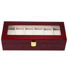 Aosen 6 Slots Wood Watch Display Case Watches Box  Vermilion