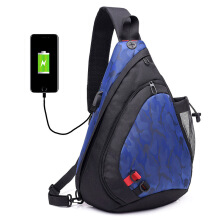 SiYing Waterproof canvas men's USB interface charging chest bag shoulder bag