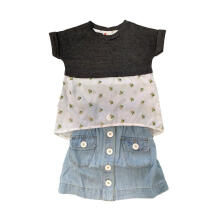 Tiny Button Setelan Baju Rok Jeans Anak - Abu 3-4 tahun Others 3-4 Years