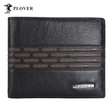 [LESHP]PLOVER GD5880-6A Business Soft High Grade Cow Leather Man Short Wallet Black Black