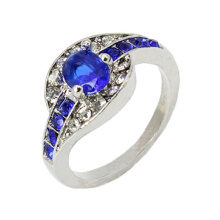 Women Blue Sapphire White Gold Filled Engagement Ring Size 7 8 9 Rings Jewelry Trail-blazer21 Blue 9