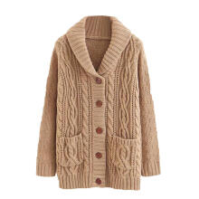 Farfi Casual Women Long Sleeve Lapel Knit Cardigan Buttons Solid Color Sweater Coat
