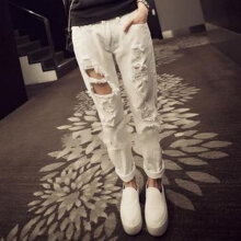 Spring Summer Women Solid Color Ripped Hole Harem Pants High Waist Jeans white L