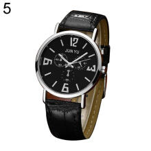 Farfi Casual Faux Leather Band Men Round Quartz Wrist Watch Jewelry Gift
