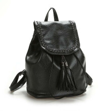 Keness New ladies washed leather backpack casual handbags bucket tassel bag handbag Black