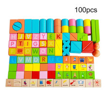 COZIME 100pcs/Set Wooden Children Building Blocks Toys Early Educational Wooden Toys Multicolor