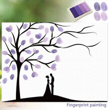 [kingstore] Personalized Fingerprints Painting Wedding Guest Signature Tree Decor Canvas Purple