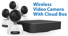 Konectplus Wireless Video Camera (Pan/Tilt/Zoom) Surveillance With Cloud Box (1TB Storage) White/Black