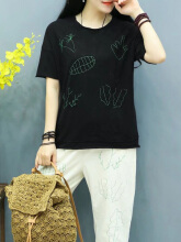Embroidered Short Sleeve O-neck Casual T-shirts Black One Size
