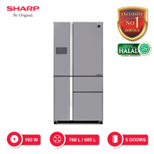SHARP Kulkas Multi-Pintu [758 L] SJ-IFX92PM-SL - Silver [SHARP EXCLUSIVE SERVICE]