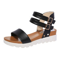 BESSKY Summer Sandals Women Aged Flat Fashion Sandals Comfortable Ladies Shoes _