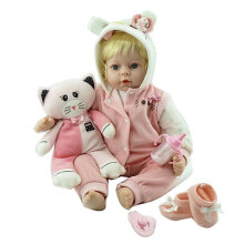 [COZIME] 50cm Newborn Baby Doll Full Body Soft Silicone Vinyl Non-toxic Safe Toys Doll Colorful1