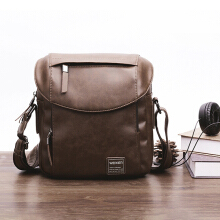 Zanzea 0051Men Faux Leather Vintage Waterproof Crossbody Bag Large Capacity Shoulder Bag Brown