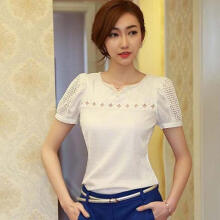 Farfi Women's Fashion Summer Hollow Sexy Short Sleeve V Neck Lace Chiffon Blouse T-shirt
