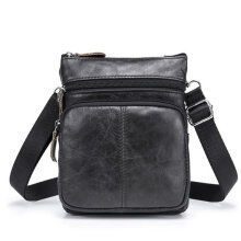[kingstore] Mini Men's Genuine Leather Single Shoulder Bag Business Casual Men's Bag Black1