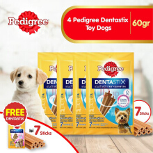 [isi 4 Pack] Pedigree Dentastix Toy Dogs 60gr Perawatan Gigi Anjing Free 1 dentastix 115727X4