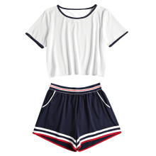 Fashionmall Ringer Tee and Striped Shorts Set