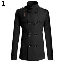 Farfi Men's Slim Long Trench Coat Windbreaker Lapel Double-breasted Jacket