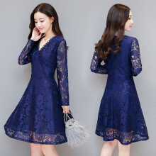 Allgood Fashion Lace Dress Women New Autumn Spring Long-sleeved Slim Long Dress Women's Elegant Vintage Dress V-neck
