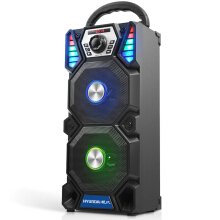 Modern HYUNDAI Colorful Double Speaker Bluetooth Speaker Outdoor Portable Handlebar Speaker Square Dance Audio Subwoofer High Power Card Radio Amplifier A1