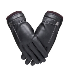 SiYing fashion leather gloves thick warm couple full touch screen riding gloves