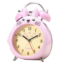 JUZHILIANGPIN Cartoon Totoro Non-ticking Twin Bell Analog Alarm Clock Boys Girls Bedside Table with Backlight