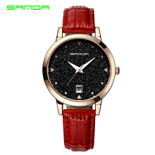 SANDA P194 Women Quartz Watches Fashion Star Dial Leather Ladies Wrist Watch