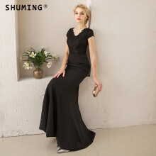 SHUMING-Banquet evening dress dignified sexy slim host dress dress Black S