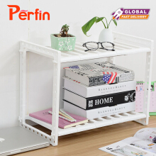 Perfin adjustable kitchen rack storage cabinet organizer Spice Rack bathroom accessories space saving Rack shoes shelf supports White