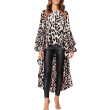 BESSKY Women Leopard Ruffles Shirt Long Sleeve Sweatshirt Pullovers Tops Blouse_
