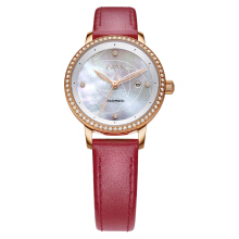 FIYTA LA805002.PWRD Ladies Silver Mother of Pearl Dial Red Leather Strap [LA805002.PWRD]