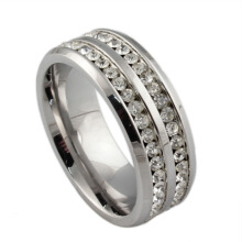 SESIBI Womens Men's Fashion Double Rows Crystal Silver Titanium Steel Wedding Jewelry Ring Size 8 -