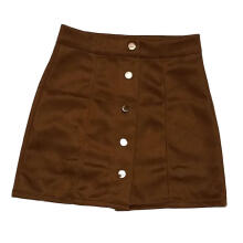 Farfi Club Party Women Solid Color High Waist Bodycon Buttons Suede Pencil Mini Skirt