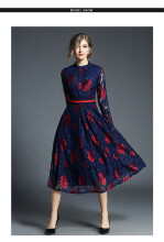 Allgood Fashion European&American Spring High Waist Lace Dresses Long-sleeved Large Pendulum Wide Hem Long Dress